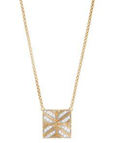 "John Hardy 18K Yellow Gold Modern Chain Diamond Square Pendant Necklace, 16"""