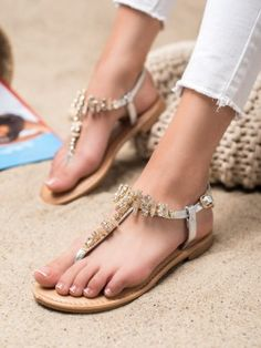 Elegantné sandálky s kamienkami Womens Flip Flops, Karl Lagerfeld, Stuart Weitzman, Versace, Tommy Hilfiger, Christian Louboutin, Platform, Michael Kors, Couture