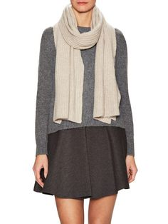 """Cashmere Ribbed Scarf, 80"""" x 15"""" by White   Warren at Gilt"""