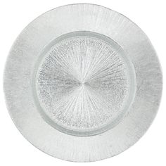 Silver Starburst Glass Charger Plate by Chair Covers & Linens
