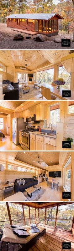 The Premiere Cabin. Available for order from ESCAPE Homes! The Premiere Cabin. Available for order from ESCAPE Homes! Tiny House Village, Tiny House Cabin, Tiny House Living, Tiny House Design, Cabin Homes, Small House Plans, Log Homes, Living Room, Best Tiny House