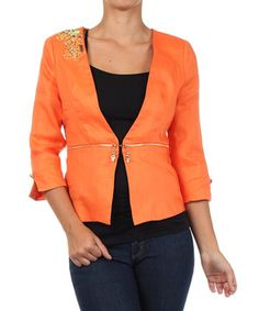Cozy up to this comfy jacket for a lovely layer that's both functional and fashionable. Boasting a sleek silhouette with a luxe linen blend and eye-catching embellishments at the shoulder, this bright jacket is a stylish pick.