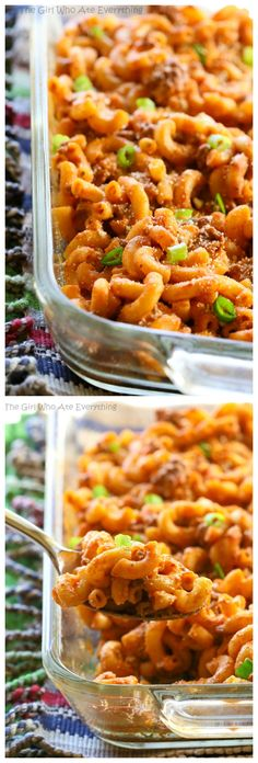 This Easy Taco Bake is a pasta dish that tastes just like a taco! It can easily be made ahead of time and freezes great. the-girl-who-ate-everything.com