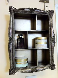 Picture frame and cheap shelving unit plus some spray paint et Voila! Shabby chic wall storage