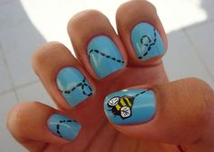 Easy Nail Designs for Short Nails Blue Flying Bee