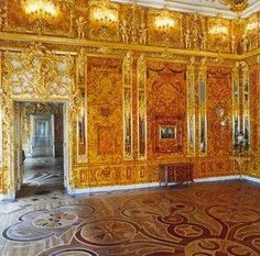 Reconstruction of the Amber Room.  This place is amazing. The walls and patterns are made with amber of various colors.  Well worth a visit if you are ever in St. Petersburg.