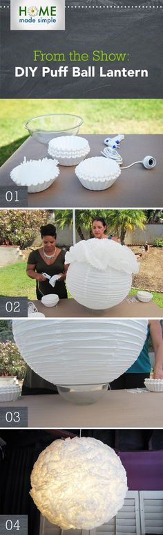 Make an eye-catching puff ball lantern using coffee filters and designer Kim Myles' simple instructions! Start with a paper ball lantern from your local craft store, and then use a hot glue gun to attach the filters. For more unique DIY projects, watch Home Made Simple, Saturdays at 9am/8C on OWN!