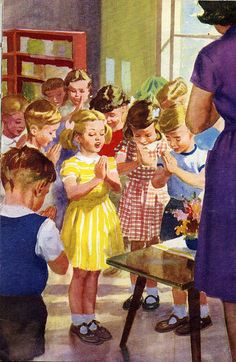 'Going to School' (Ladybird books series 563) by M E Gagg; illustrated by Harry Wingfield; First Published 1959.  We recited The Lord's Prayer - times have sadly changed!