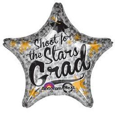 Jumbo Shoot For The Stars Grad - Non-Pkg Foil Balloon