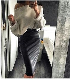 Sweater tucked into pencil skirt