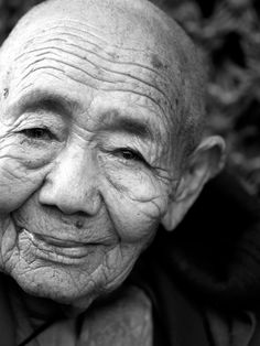 Nepal, old man, wrinckled, face, beauty, oldie, aged, a life of wisdom in his face, beautiful, history, stories, strong, intense, portrait, photograph, photo b/w.
