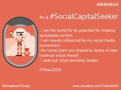 Which travel tribe do you belong to? Are you a Social Capital Seeker? This tribe see the world in terms of its potential for creating spreadable content. Find out more about the six traveller tribes of 2030 and take the test  #Tribes2030 #RewardHunter