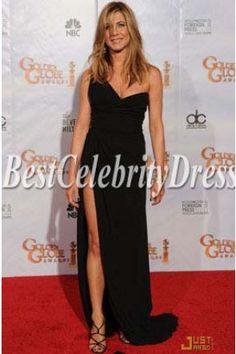 Jennifer Aniston Sexy Black Red Carpet Evening Dress 2010 Golden Globe Awards