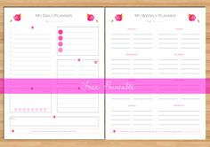 Free printable: Daily Planner and Weekly Planner