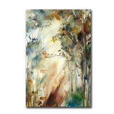 Forest Landscape Watercolor Painting Art Print, Nature Landscape Watercolour Modern Art