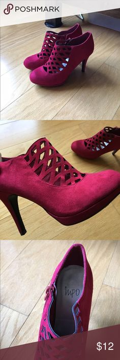 Red Heels Red suede heels. IMPO brand. They're brand new and have never been worn, I just got the wrong size. No trades. Impo Shoes Heels