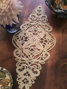 Crocheted Doily Romanian Point Lace Style ECRU by ValeriasShop, Crochet Cord, Crochet Motifs, Crochet Doilies, Crochet Lace, Lace Patterns, Crochet Patterns, Bruges Lace, Romanian Lace, Point Lace