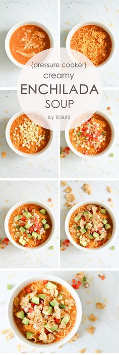 Pressure Cooker AKA Instant Pot Enchilada Soup that is so creamy without any cream!  Fast, healthy, and delicious with all the toppings you could ever want!