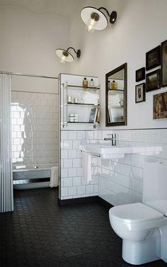Läderfabriken by Oscar Properties (Modedamour) Black Bathroom Floor, Black Tile Bathrooms, Upstairs Bathrooms, Bathroom Floor Tiles, Downstairs Bathroom, Laundry In Bathroom, Small Bathroom, Bad Inspiration, Bathroom Inspiration