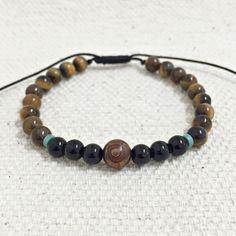 pulseira masculina pedras natuaris olho de tigre onix agata dzi bracelets mens fashion cocar brasil