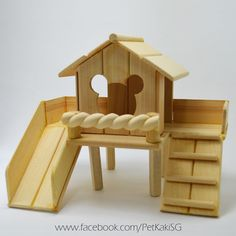 Handmade DIY Wooden hamster toys for a nature or woodlands inspired cage habitat! I can imagine my little furkid entertaining themselves on the slide!