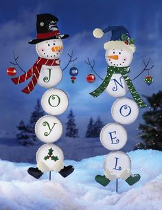 Collections Etc - Holiday Snowman Stake Garden Decoration Noel$14.99