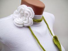 Hand crochet Lariat Scarf by nurlu