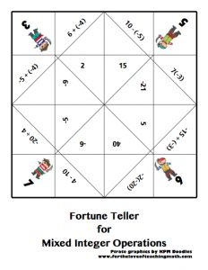 Fortune Teller (Cootie Catcher) for Mixed Integer Operations