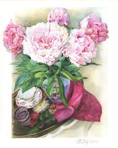 프랑스에서 활동중인 Anne Marie Patry의 장미.수국.튤립.팬지.... 넘 아름다운 수채화 일러스트
