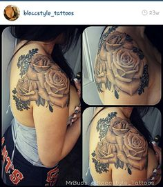 Beautiful roses, with lace! Shoulder tattoo!