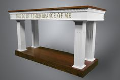 8405 Communion Table Two Tone Colonial Altar Design, Home Altar, Church Interior, Church Flowers, Religious Architecture, Communion, Entryway Tables, Furniture Design, Woodworking