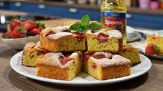 Prajitura spornica cu capsuni - reteta video Kefir, French Toast, Deserts, Muffin, Dessert Recipes, Cooking Recipes, Sweets, Breakfast, Smoothie