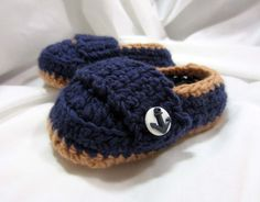 Baby Boy Loafers crocheted shoes Navy and by FiberAddictDesigns, $10.00