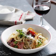 Caramelized onions lend a slight sweetness to this hearty pasta dish.