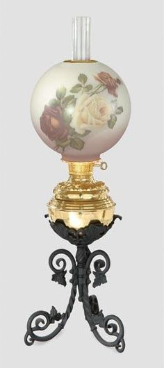 Iron and Brass Banquet Lamp | Antique Lamp Supply