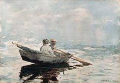 """Rowboat,"" Winslow Homer, 1880, watercolor over graphite on off-white wove paper, 9 7/8 x 13 15/16"", Bowdoin College Museum of Art."