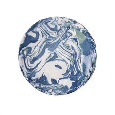 Blue Ebru Marble Ceramic Dinner Plate
