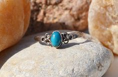 Sterling Silver Ring  Navajo Turquoise Ring  by SweetVintageTX