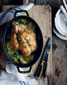 A one-pot chicken recipe from The Midlife Kitchen book by Mimi Spencer and Sam Rice. You cook it in one large casserole, with just half an hour of hands-on prep, before it goes in the oven.