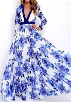 Blue Floral Pattern Plunging Neckline Bohemian Dacron Maxi Dress