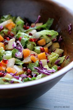 Winter Chopped Salad with Apples, Pears, Pomegranates, and Red Wine Vinegar