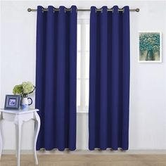 NICETOWN Blackout Curtains and Drapes for Kitchen - Extra Long Room Darkening Thermal Insulated Solid Window Blackout Draperies Pair, 52 x Navy Blue) Room Darkening Curtains, Window Drapes, Curtains With Blinds, Panel Curtains, Shower Curtains, Long Room, Purple Curtains, Modern Lighting Design, Blackout Drapes