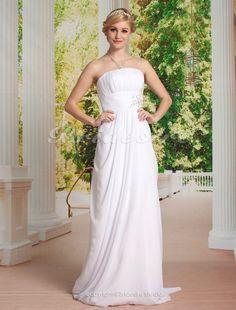 Sheath/Column Chiffon Sweep/ Brush Train Strapless Wedding Dress - $164.99