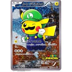 Pokemon Center 2016 Mario Pikachu Campaign Luigi Pikachu Holofoil Promo Card #296/XY-P Pokemon Card Memes, Cool Pokemon Cards, Rare Pokemon Cards, Pokemon Trading Card, Pokemon Plush, Pokemon Fan Art, Lego Pokemon, Pokemon Funny, Pokemon Movies
