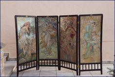 Jugendstil Paravent - handgemalt - nach Alfons Mucha -  datiert 1904  (# 2666)