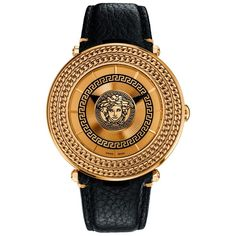 Versace 'V-Metal Icon' Round Leather Strap Watch, Diamond Watches For Men, Best Watches For Men, Luxury Watches For Men, Brown Leather Strap Watch, Sport Watches, Men's Watches, Prime Watches, Versace Men, Versace Gold