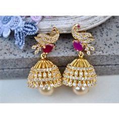 Diamond Peacock Jhumka Earrings with Rubies