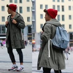 Fall outfit ; Green parka, blue backpack and red beanie. www.sophieandjames.com