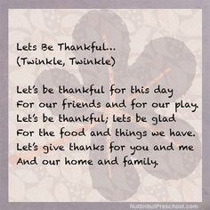 Lets be thankful song sung with small children to the tune of Twinkle Twinkle Little Star. Song for preschool lesson plan for fall & Thanksgiving units. Thanksgiving Poems, Thanksgiving Preschool, Preschool Music, Preschool Learning, Teaching, Songs For Toddlers, Kids Songs, Thankful Songs, Bible Lessons