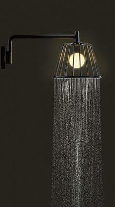 L'acqua scende da 6 cannule nel soffione doccia Axor LampShower di Axor_Hansgrohe dotato di getto a pioggia Rain e nel quale è montata una lampadina LED da 5 W. I due condotti separati per acqua ed elettricità sono certificati. Con una portata di 12 l/m, è disponibile anche nella versione a soffitto. Misura L 27,5 x H 22,9 cm. Il braccio doccia è lungo 38 cm. Prezzo su preventivo. www.hansgrohe.it